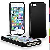 :igadgitz Negro Case TPU Gel Funda Cover Carcasa para Apple iPhone SE, 5S & 5 Teléfono Móvil 4G LTE + Protector de pantalla (no apto para iPhone 5C)