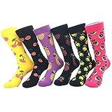 YoungSoul 6 Paar Damensocken Bunte - Lustige Socken - Gemusterte Socken - Mehrfarbig Baumwollsocken 01