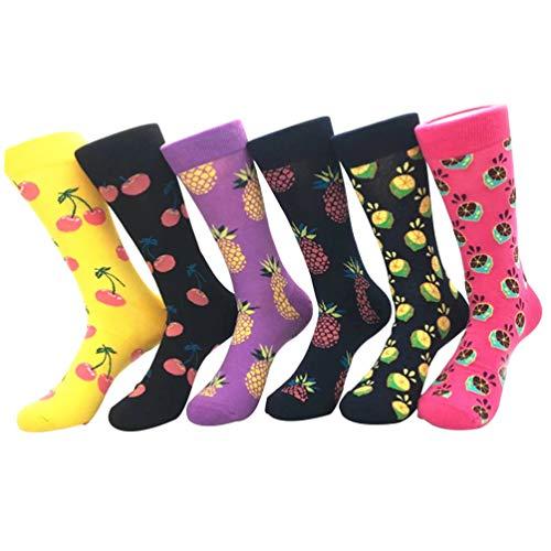 YoungSoul 6 paires chaussettes fantaisie femme couleur chaussette en coton chaussettes rigolotes à motifs 01