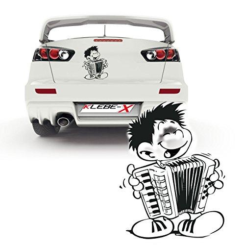 Preisvergleich Produktbild Junge mit Instrument als Heckscheibenaufkleber für das Auto Sticker Kindermotive Musik | P018