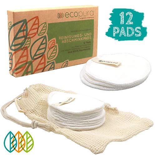 ecopura - Wiederverwendbare Wattepads, 12 Stück, 100% Baumwolle - 18,90€