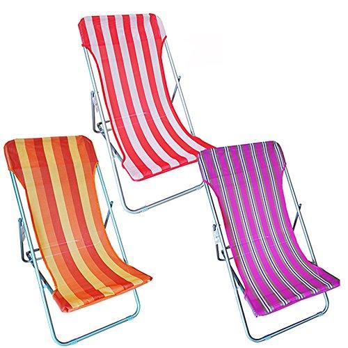 Sedia a sdraio spiaggina con tela in textilene e lega di metallo leggero colorata rosso da mare spiaggia giardino