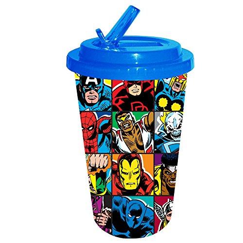 o mv0884Grid Kunststoff Flip Stroh kalt Cup, 16oz, multicolor (Avengers-kunststoff-cups)