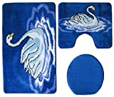 Badgarnitur 3-teilig blau weiß, Motiv Schwan, mit Ausschnitt.für Stand-WC, 80 x 50cm (große Matte), 50x40cm (kleine Matte)