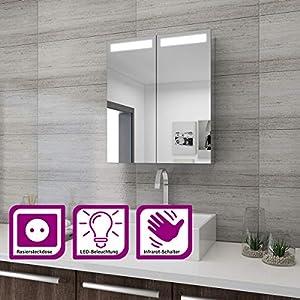 Elegant Spiegelschrank mit Beleuchtung 60 x 70 cm Infrarot Sensorschalter Badezimmerspiegel 2-türig Badschrank mit Rasierersteckdose