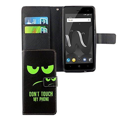 König-Shop Handy-Hülle Schutz-Tasche Wiko Jerry 2 Smartphone Klapphülle Don't touch my Phone Design Grün Schwarz