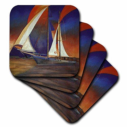 taiche–Acryl Malerei–Segelboote–Kabinen unter Segel–Blau, Boote, Impressionismus, orange, Realismus, Segelboot, Segel–Untersetzer, Gummi, Orange, set-of-4-Soft