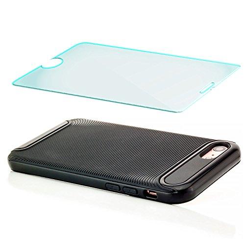 Coque iPhone 7 Housse + Verre Trempé Etui TPU Silicone Case Cover [zanasta Ultra Hybrid] avec Bumper une protection de bord supplémentaire Noir Noir