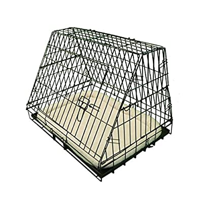 Ellie-Bo Deluxe Sloping Puppy Cage Folding Dog Crate with Non-Chew Metal Tray Fleece and Slanted Front for Car