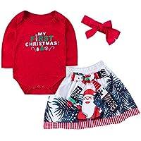 cinnamou Neugeborenes Baby Mädchen Weihnachten Brief Print Romper + Bogenrock + Stirnbänder Set kleiden