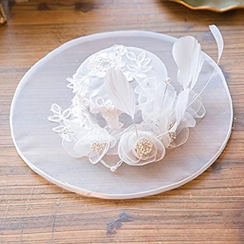 ZYQYJGF Sposa Cappelli Cappello Donna Di Piume Bianco Seta Filato Fiore Velo White