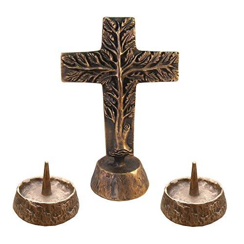 Versehgarnitur Bronze Stehkreuz Lebensbaum doppelseitig Bronze Kreuz 17 cm 2 Kerzenleuchter