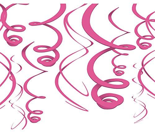 Libetui 12 Farbenfrohe Folienwirbel Deko farbige Spiralen Partydeko tolle originelle Dekoration Ideen für Geburtstag Party (Pink)