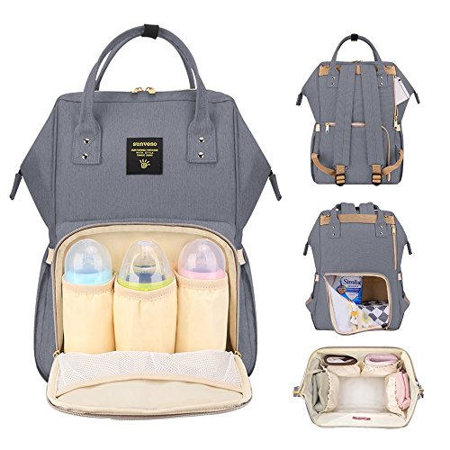 SUNVENO Mummy Backpack Large Capacity Waterproof Baby Diaper Nappy Bag with Changing Mat (Gray)