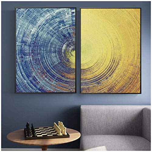 xwlljkcz 2 Unidades Abstracto Azul Amarillo círculos patrón Lienzo Pintura Moderna Carteles e Impresiones Pared Arte Cuadros para Sala de Estar decoración del hogar 50x70 cm sin Marco
