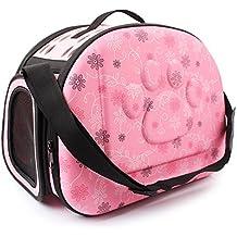 Al Aire Libre Respirable Plegable Bolsa para Mascotas para Perro Gato Cómodo Viaje Talla Mediana Portador de Mascotas (rosa)