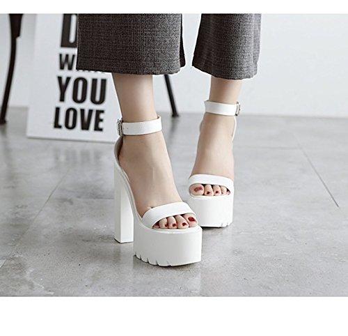 GTVERNH-lestate scarpe bianche muffin super superficiale bocca bianca col tacco sandali dura sandali night club subacqueo sandali.,36 Thirty-eight