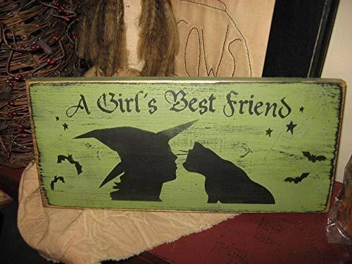 qidushop Hausschild A Girls Best Friend Hexe schwarz Katze Primitive Wicca handbedrucktes Regal Sitter Wandschild Halloween Herbst Kätzchen Holzschild Deko