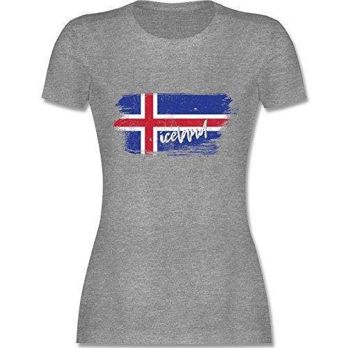 Handball WM 2019 - Island Vintage - S - Grau meliert - L191 - Damen Tshirt und Frauen T-Shirt