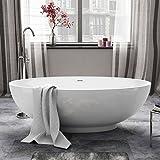 1685 mm Modern White Oval Bathtub Designer Freestanding Bath with Waste