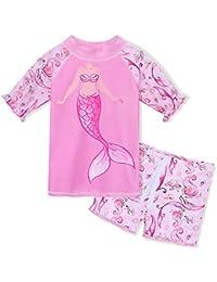 50b602f3c60f5 HUAANIUE Girls 2PCS Swimsuit 3-8Y Swimming Set Short Sleeve Swimwear Summer  Beach Swimming Costume