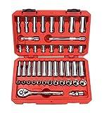 TEKTON 3/8-inch llaves de vaso Set, pulgadas/métricas, 6cantos, 5/16–3/4-inch, 8mm–19mm, (45piezas | 13101