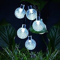 VicTop solare luci della stringa 30 sfera di cristallo solare a LED alimentato Globe natalizia per il paesaggio decorazione del giardino recinto Path (Bianco come la neve)