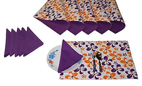 coton Lushomes napperons imprimés avec serviette réversibles linge de table