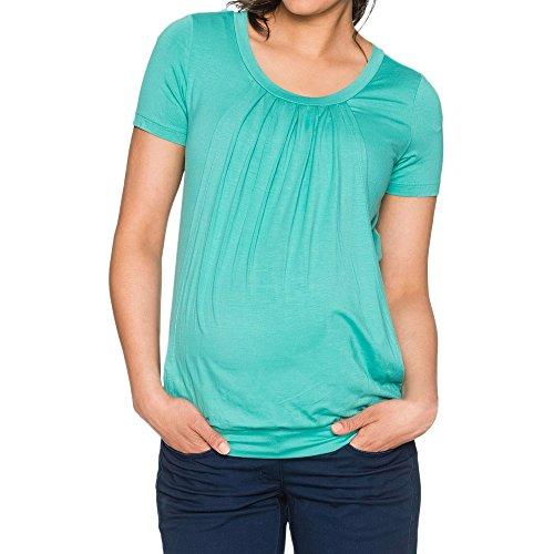 Bluse Cap (MCYs Sommer Frauen Tops Bluse Stilltop Lässige Mode Mutterschaft Pflege Wrap Top Cap Kurzarm Doppelschicht Bluse T-Shirt Umstandstop (XL, Grün))