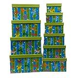 Markenlos Aufbewahrungsboxen Set 10-teilig mit Deckel Zoo Giraffen Kinder Zimmer Ordnungsboxen