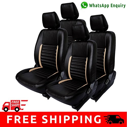 Autofact Brand PU Leatherite Car Seat Covers for Mahindra KUV100 in Black and Beige Strip