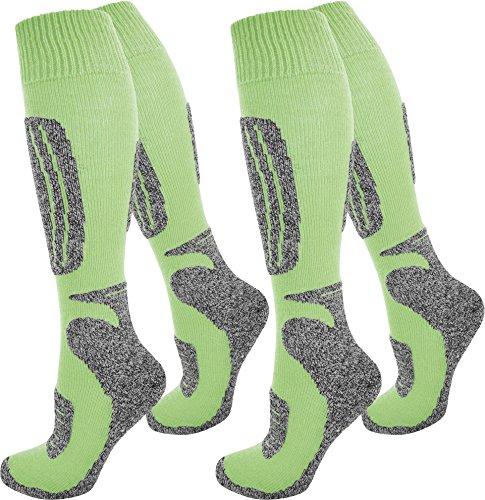 normani 2 Paar Skisocken/Ski-Kniestrümpfe mit Spezialpolsterung und Schafwollanteil Farbe N Grün Größe 35/38