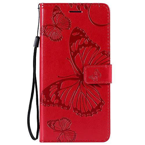 Sunrive Hülle Für LG K50/Q60, Magnetisch Schaltfläche Ledertasche Schutzhülle Case Handyhülle Schalen Handy Tasche Lederhülle MEHRWEG(Prägung Schmetterling Rote)