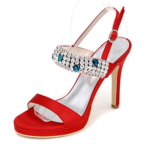Elobaby Damen-Hochzeitsschuhe Chunky Nach Maß High Heels Plattform Sparkly/35-43 Größe/11 Ferse, Red, 40