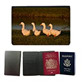 GoGoMobile Couverture de passeport // M00124863 Patos de Aves Acuáticas Fila Fowl Vida // Universal passport leather cover