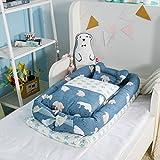 Baby-Nest, Babybett tragen Quilt (0-24 Monate) mit Mach dir keine Sorgen über das Baby fallen, wenn Sie schlafen - 100% ungefärbtem Bio-Baumwolle Cover - perfekt + hypoallergen (Eisbär)