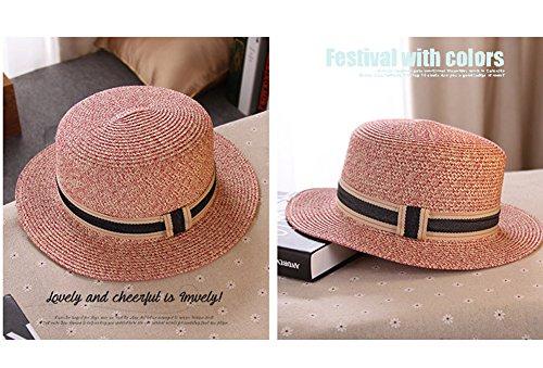 Femme Chapeau Panama Chapeau De Soleil Capeline Chapeau de paille Chapeau d'été Chapeau de plage Rose