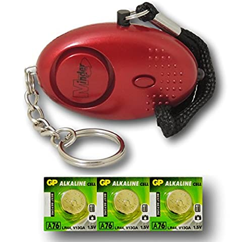 Minder® 140db Police Approved Metallic Red Mini Minder Loud Personal Staff Panic Rape Attack Safety Security Alarm Keyring with Torch - Secured by Design Approved (Police Preferred Specification) - With Spare Set of
