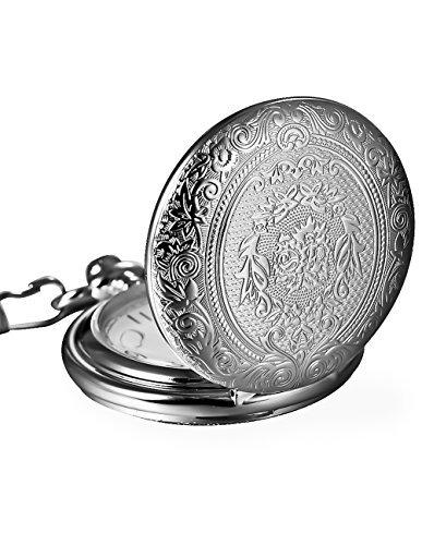 Weinlese Silber Edelstahl Quarz Taschenuhr Halsketten Kette