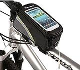 1DCCN Fahrrad Rahmentasche Oberrohrtasche MTB Fahrradtasche Handy Tasche (passend bis zu 5,5 Zoll) mit klaren PVC-Schirm