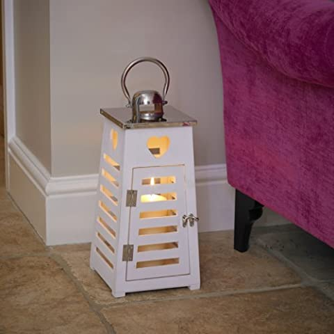 Garden Mile® Large 50cm Vintage White Wooden Shabby Chic Hurricane Candle Lanterns Hanging Glass Candle Holder Patio Storm Vase Table Lantern Or Window Centrepiece Indoor Or Outdoor For Votive Pillar And Church