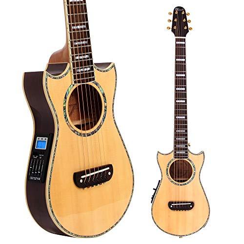 Lindo Guitars - Guitarra (con funda rígida, realizada con sólido abeto de calidad superior, para guitarra electroacústica con SV-M700mezcla preamplificador/LCD)