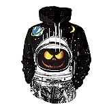 CHIYEEE Herren Hoodie 3D Drucken Langarm Halloween Pullover Bluse Unisex Kapuzenpullover Dame Sweatshirt L