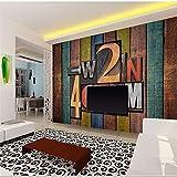 WOLLEN Große Mauer Restaurant Sprinkles Hintergrund-Tapete Retro alter Holzboden 3D Digital Letters Tapete, 430X300 Cm (169,3 von 118,1 In)