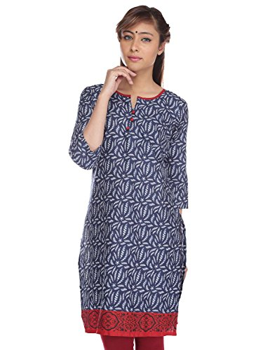 PINK almirah Women Navy Blue Printed Kurta  available at amazon for Rs.319