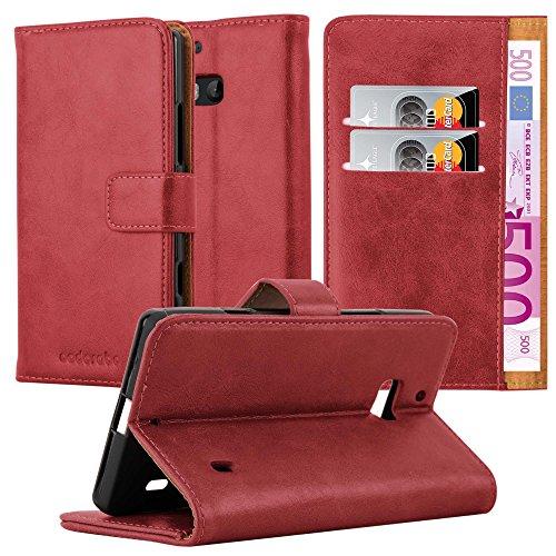 Cadorabo Hülle für Nokia Lumia 929/930 - Hülle in Wein ROT - Handyhülle im Luxury Design mit Kartenfach & Standfunktion - Case Cover Schutzhülle Etui Tasche Book