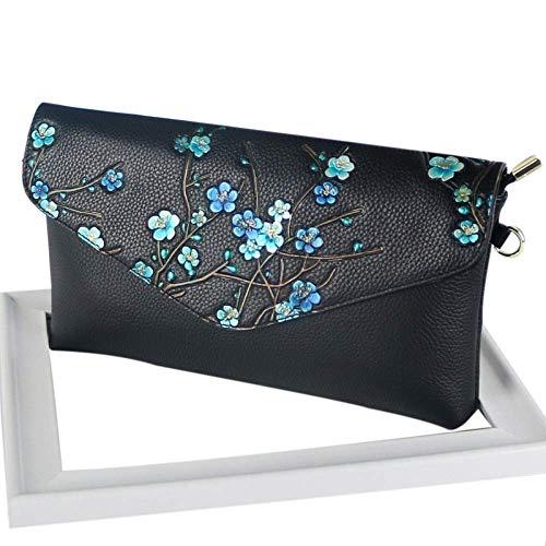 LYDIANZI Frauen-Abend-Beutel-Kupplungs-Handtaschen Hochzeit Prom Umschlag Geldbeutel Pflaume, einfache Geprägte gemalten Damen Schulter diagonal Tasche (Color : Blue) -
