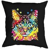 Neon Kissen mit Füllung - Bunte Katze - Blaue Augen - Dekokissen humorvolle Geschenk Idee Katzenfreunde Polster schön