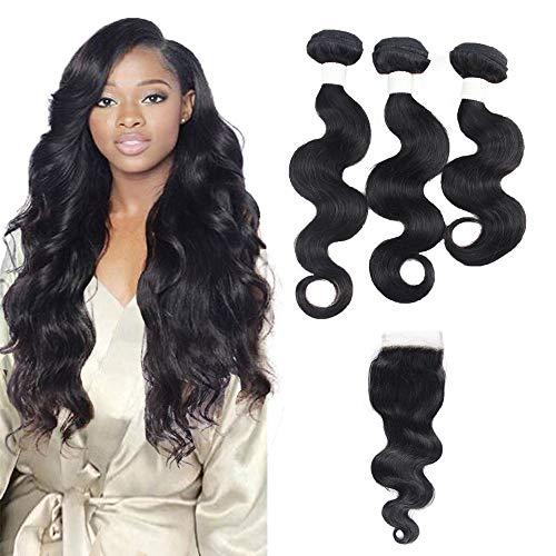 Menschliches Haar Weave Bundles Hair - Orange Star 9a hair wavy echte haare extensions 3 bundles human hair with closure (30,35,40 + 25 cm) -