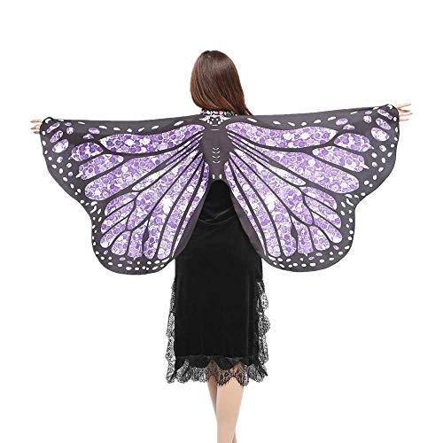 Voodoo Kostüm Arzt - WOZOW Damen Schmetterling Flügel Kostüm Nymphe Pixie Umhang Faschingkostüme Schals Poncho Kostümzubehör Zubehör (Helllila Punkte)